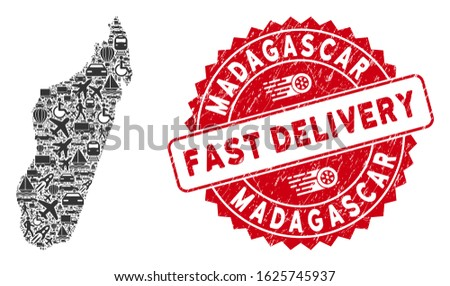 Travel collage Madagascar Island map and grunge stamp seal with FAST DELIVERY text. Madagascar Island map collage formed with grey scattered shipment symbols.
