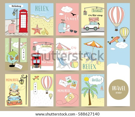 Travel collection for banners,Flyers,Placards with balloon,world traveling on airplane, planning a summer beach vacation, tourism and journey objects and passenger luggage in london