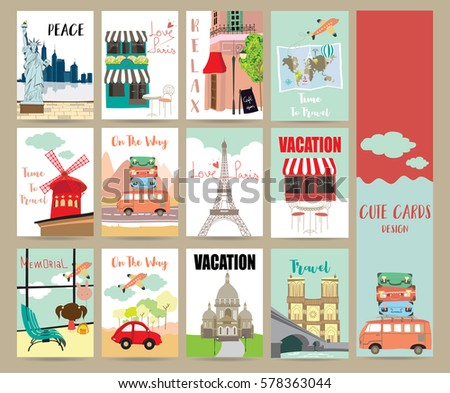 Travel collection for banners,Flyers,Placards with cafe,van,girl,air plane and eiffel tower in france
