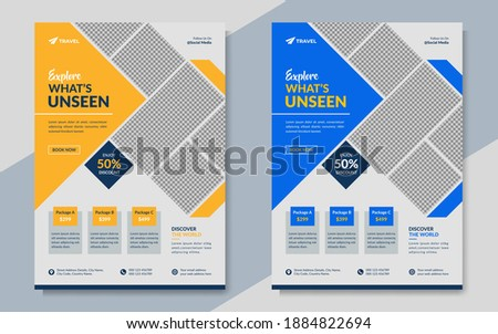 Travel company business promotion flyer template in blue and orange color. Travelling poster with tour agency logo. Summer holiday travel banner design. Creative, modern tourism offer marketing flyer.