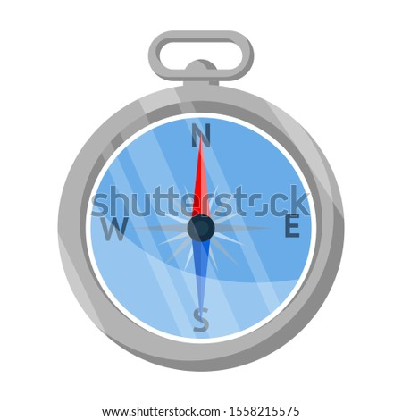 Travel compass flat vector illustration. Navigational equipment isolated clipart on white background. Tourist accessory. Orienteering sport. Hiking instrument with pointers, camping gear
