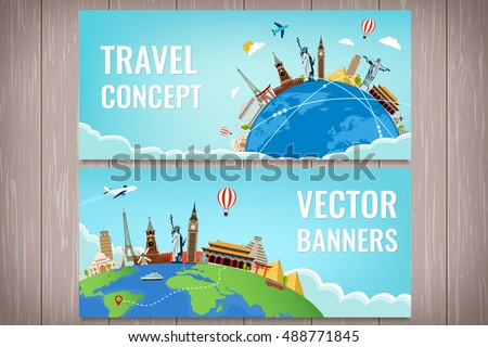 Shutterstock Travel composition with famous world landmarks. Travel and Tourism. Concept website template. Vector illustration. Modern flat design.