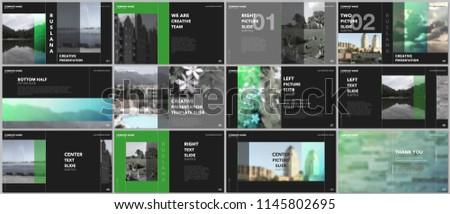 Travel concept presentations design, portfolio vector templates with graphic elements on black. Multipurpose template for presentation slide, flyer leaflet, brochure cover, report, advertising.