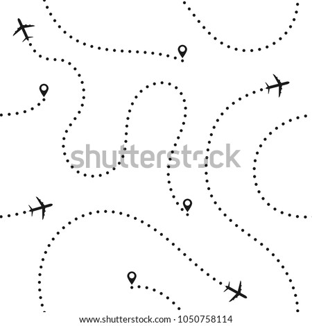 Travel concept seamless pattern. Abstract airplane routes. Travel and tourism seamless background with dotted airplane routes. Vector