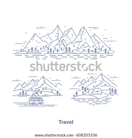 travel concept set flat line