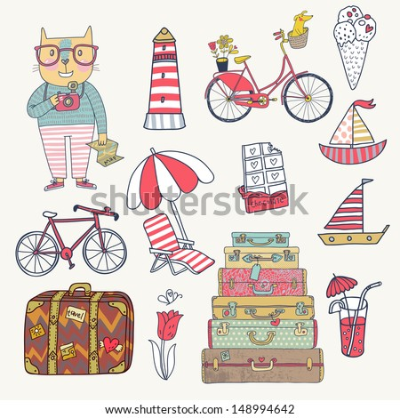 travel concept set in vector