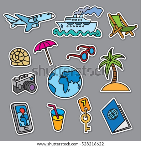 travel concept stickers, sea resort, cruise and journey #528216622