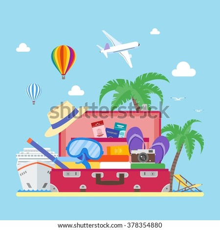 Travel concept vector illustration in flat style design. Airplane flying above tourists luggage, ship, palms, beach. Vacation and tourism background