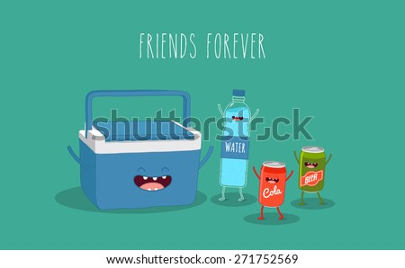 travel cooler box and water