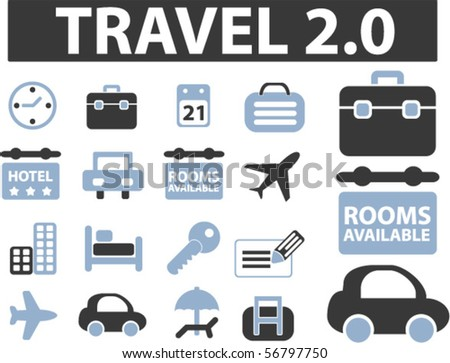 travel cute 2.0 signs. vector