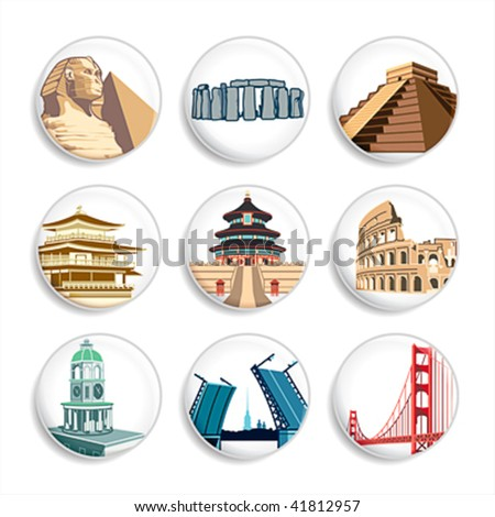 travel destination badges   set