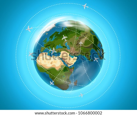 Travel destination concept with aircrafts. Vector illustration
