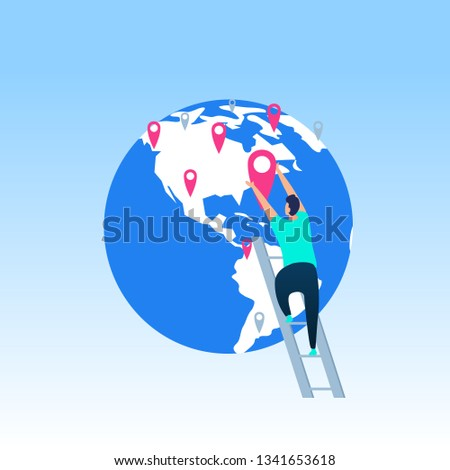 Travel Destinations Planning, Developing Business Network, Worldwide Delivery Service Flat Vector Concept with Man Climbing on Ladder, Putting New Checkpoint or Pinpoint on World Globe Illustration