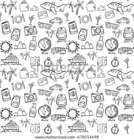 travel doodle seamless pattern background bdc409cb85