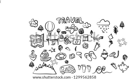 f7f28eeee1 Travel doodle set.Creative typography for prints and posters