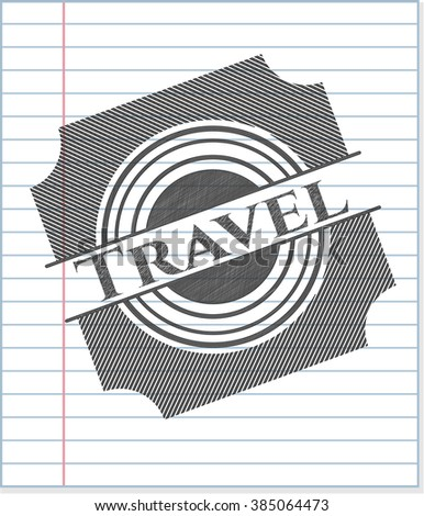 Travel emblem with pencil effect