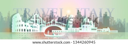 Travel Europe architecture famous landmarks italy by gondola boat, Tourism around the world to venice, colosseum, With origami paper cut style for landmark poster and postcard, Vector illustration