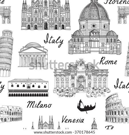 Travel Europe background. Italy famous landmark seamless pattern. Italian city architecture travel sketch.