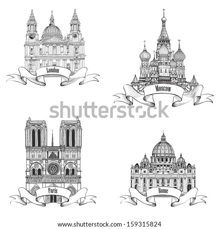 Travel Europe vector set. Famous european landmarks collection. City symbols: Paris (Notre Dame Cathedral), London (St Paul Cathedral), Rome (St. Peter Cathedral), Moscow  (St. Basil Cathedral)