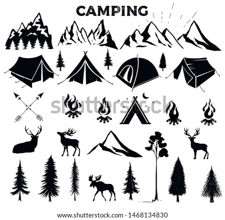 Travel Event. Camping vector logo template for your design. Tourist tent, forest, camp, trees, Camp badges, labels, banners, brochures. Set of vintage camping, outdoor adventure emblems.