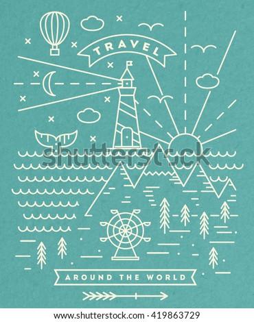 travel flat line art