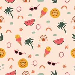 Travel Fun Seamless Pattern with Summer Icons in Vector featuring ice cream, watermelon, sunglasses and sun illustration.