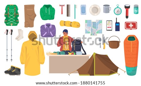 Travel gear and equipment. Hiking and trekking essentials, flat vector isolated illustration. Hiker outdoor clothes, backpack, flashlight, camping tent, trekking poles, sleeping bag, hiking boots etc.