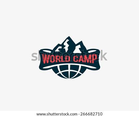 Travel, globe, earth, mountain, adventure, camp logo design. Quest, game, hike symbol