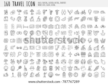 travel hand draw icons icon