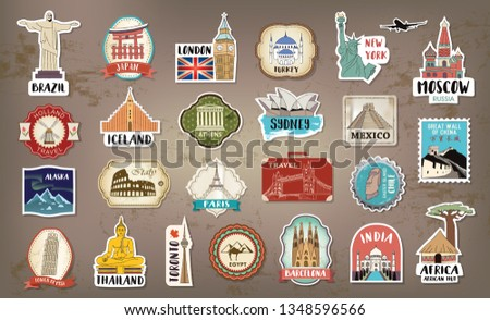 Travel hand drawn labels, tags, stickers and elements set with landmarks of the world.
