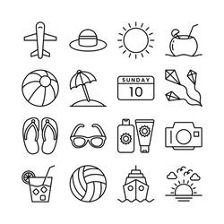 Travel, Holiday, Summer, and Tourism line icons set vector illustration. Beach, Sea, Passport, Sand, Travel, Kite, Umbrella, Summer, Vibes, Hot Sun, 10, Sunday. Pixel perfect. Editable Stroke.
