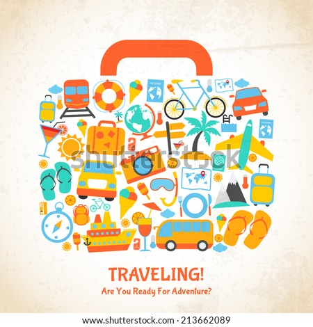 Travel holiday vacation suitcase ready for adventure concept vector illustration