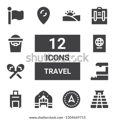 travel icon set collection of