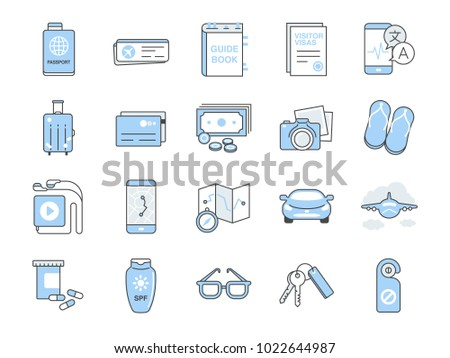 Travel icon set. Included the icons as visa, passport, vacation, holiday, sunscreen, camera, suitcase and more.