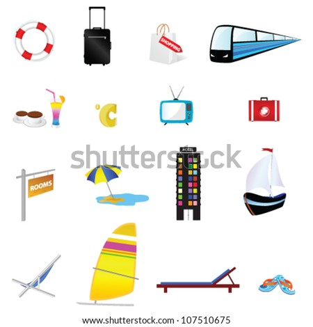 travel icon set one with train and boat illustration