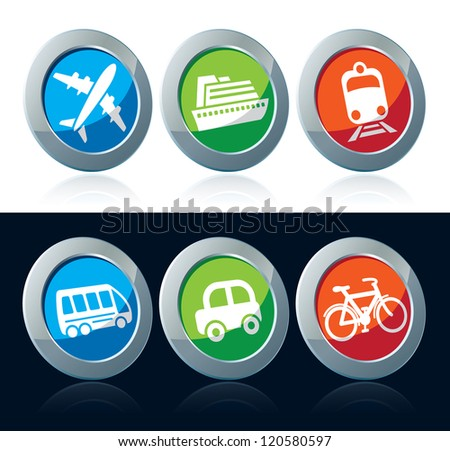 Travel icon set over white and black background