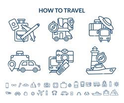 Travel icon set. Vector