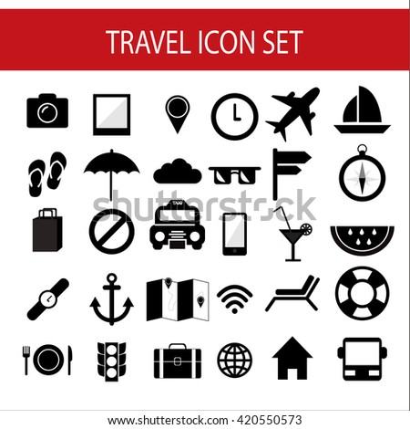 travel icon vector,Set of travel icons