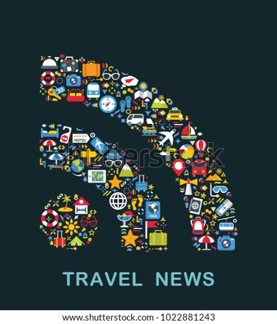 Travel icons are grouped in Rss form