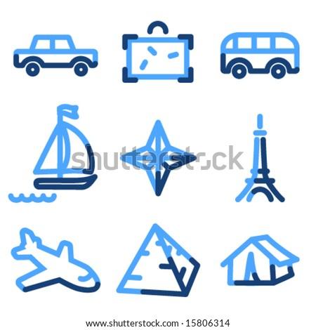 Travel 2 icons, blue contour series