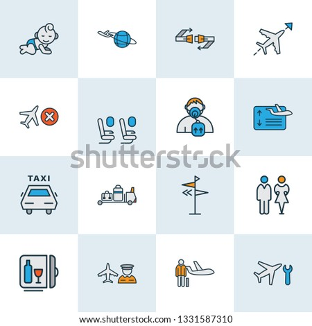 Travel icons colored line set with direction, airport worker, flight board and other passenger protection elements. Isolated vector illustration travel icons.