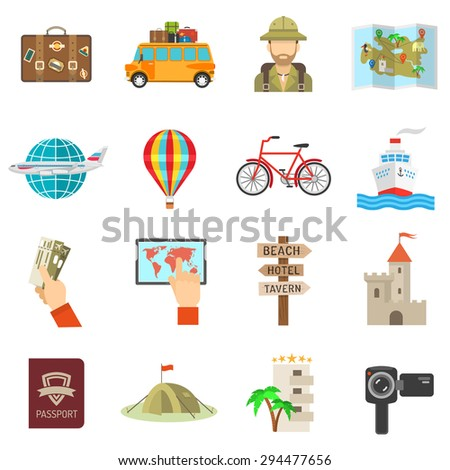 travel icons flat set with tent
