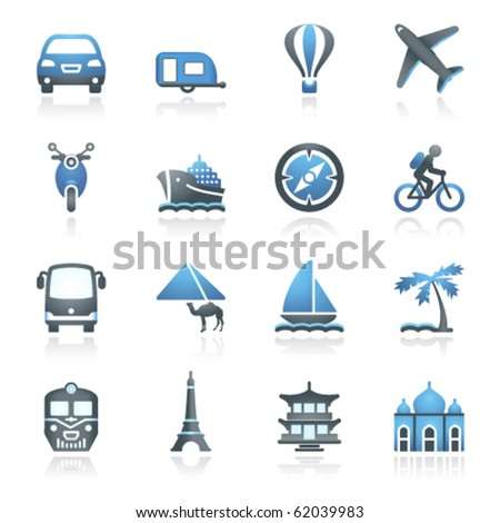 Travel icons for web. Gray and blue series.