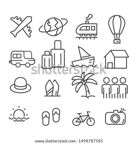 travel icons isolated modern