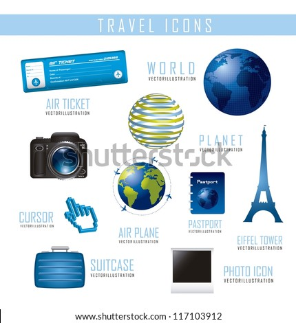 travel icons isolated over white background.vector illustration