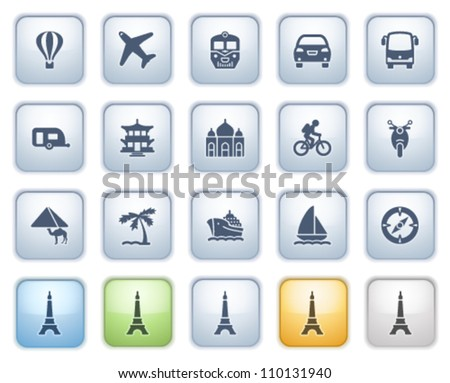 travel icons on buttons color
