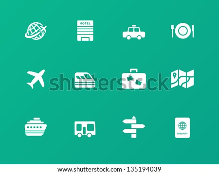 Travel icons on green background. Vector illustration.