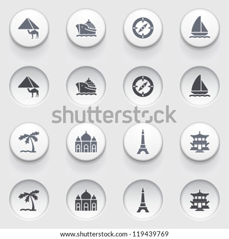 Travel icons on white buttons. Set 2.