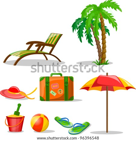 Travel icons, palm, ball, lounge, umbrella, bucket with a shovel, flip-flops and suitcase