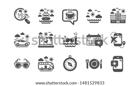 Travel icons. Passport, Luggage and Check in airport. Sunglasses classic icon set. Quality set. Vector